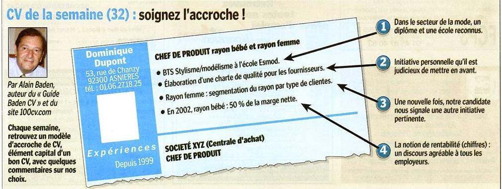 Exemple accroche CV, billet du Parisien par Alain Baden
